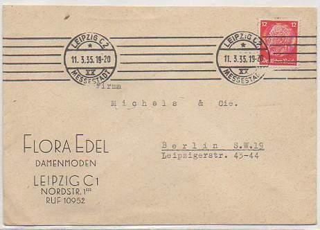 x15840; Firmen Brief; Leipzig C1 Flora Edel Damenmoden