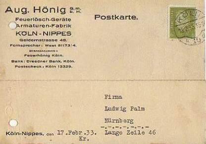 x15852; Firmenkarten; Köln Nippes. Aug.Hönig GmbH.. Feuerlöschgeräte, Armaturen Fabrik