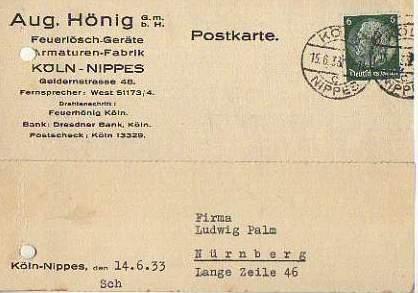 x15853; Firmenkarten; Köln Nippes. Aug.Hönig GmbH.. Feuerlöschgeräte, Armaturen Fabrik