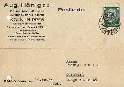 x15854; Firmenkarten; Köln Nippes. Aug.Hönig GmbH.. Feuerlöschgeräte, Armaturen Fabrik