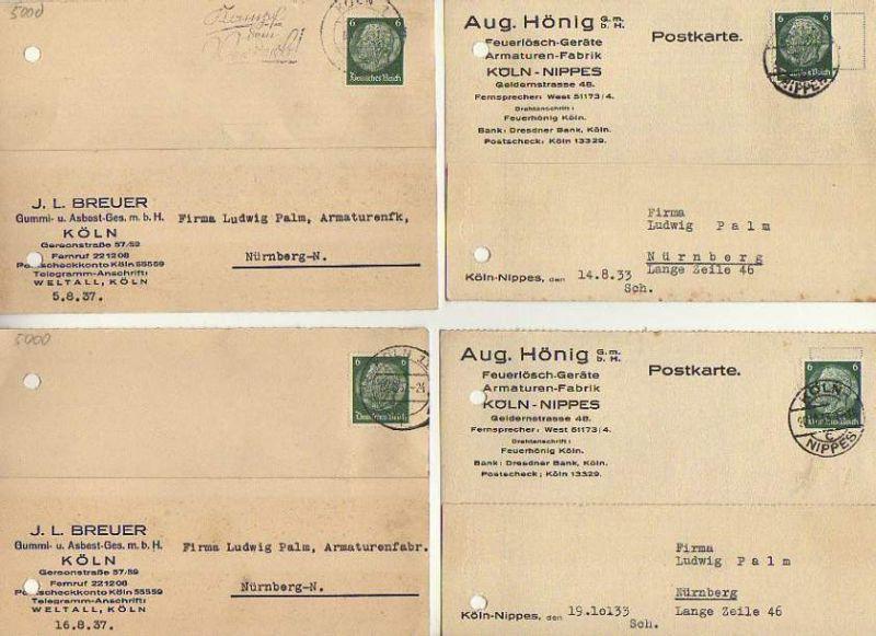x15855; Firmenkarten; Köln Nippes. Aug.Hönig GmbH.. Feuerlöschgeräte, Armaturen Fabrik