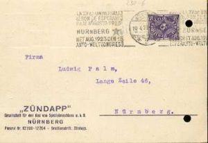x16017; Esperanto Stempel : Nürnberg het Aug. 1923 15 Esperanto Weltkongres
