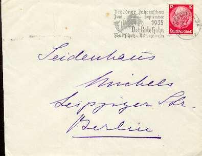 x16056; Feuer Stempel: Dresdner Jahresschau Juni September 1935. Der Rote Hahn. Feuerschutz u. Rettungswesen Mi519 nach Berlin.