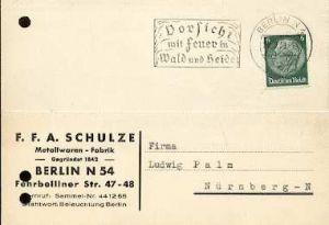 x16060; Feuer Stempel: Vorsicht mit Feuer in Wald und Heide. Berlin N4,27.08.1939; (gelocht).
