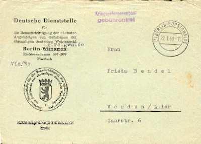 x16076; Kriegsgefangenepost. Berlin Borsigwalde, 22.1.59; L2 Kriegsgefangenenpost Gebührenfrei nach Verden mit Inhalt. Betreff. gefallener SS Angehöriger.