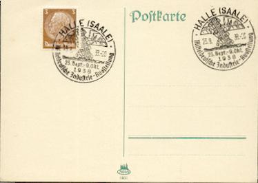 x16112; Halle Saale). Mitteldeutsche Industrie Ausstellung 23.Sep. bis 9.Okt. 1938 blanko.