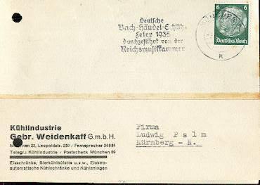 x16164; Musik Stempel: Deutsche Bach Händel Schütz Feier 1935 durchgeführt von der Reichsmusikkammer München 1935 auf Firmenkarte Kühlindustrie. Gebr. Weidenkaff.München. (gelocht).
