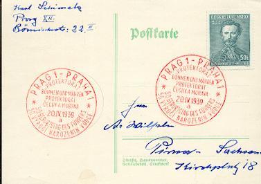 x16264; NS Zeit: Protektorat Böhmen und Mähren Prag 20.IV.1939 (rot. 2 sprach) nach Pirna.