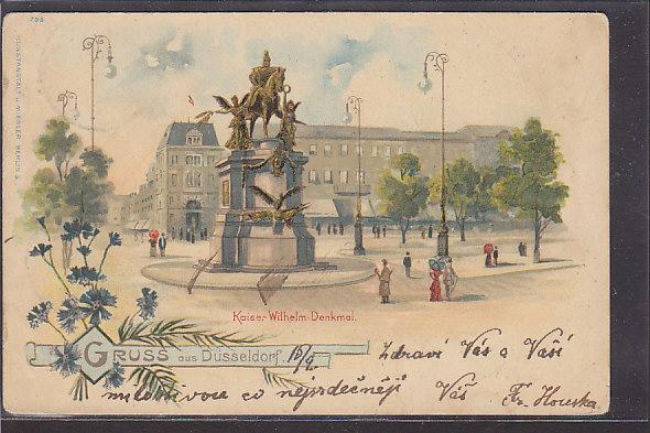 AK Litho Gruss aus Düsseldorf Kaiser Wilhelm Denkmal 1901