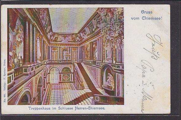 AK Gruss vom Chiemsee Treppenhaus im Schlosse Herren Chiemsee 1902 0
