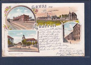 AK Litho Gruss aus Cüstrin 4.Ansichten Bahnhof 1899