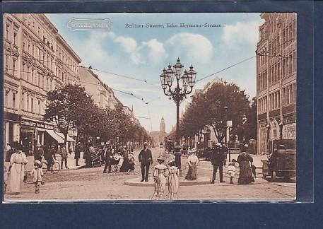 AK Gruss aus Neukölln Berliner Strasse Ecke Hermann Strasse 1910