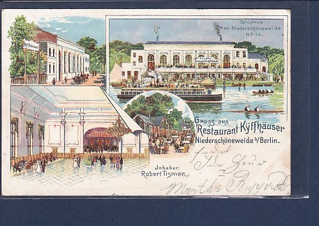 AK Litho Gruss aus Restaurant Kyffhäuser Niederschöneweide 4.Ansichten 1900
