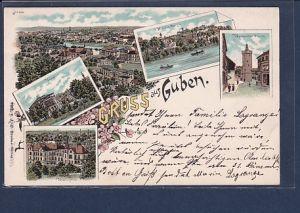 AK Litho Gruss aus Guben 5.Ansichten 1902