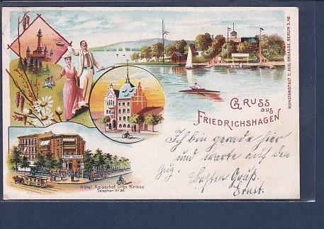 AK Litho Gruss aus Friedrichshagen 4.Ansichten Hotel Kaiserhof 1900
