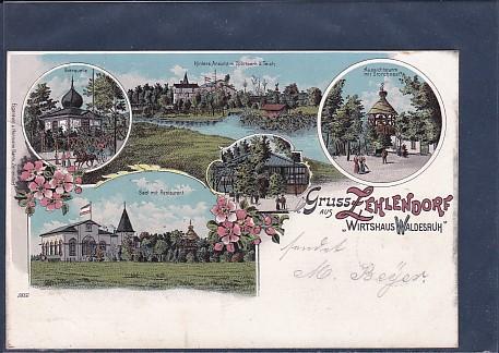 AK Litho Gruss aus Zehlendorf Wirtshaus Waldesruh 5.Ansichten 1901