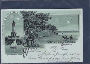 Mondschein AK Gruss aus Schmidt´s Wirtshaus Schildhorn 1902
