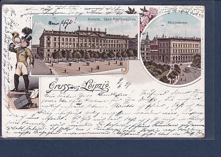 AK Litho Gruss aus Leipzig 2.Ansichten Postdirection 1897 0
