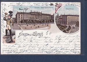 AK Litho Gruss aus Leipzig 2.Ansichten Postdirection 1897