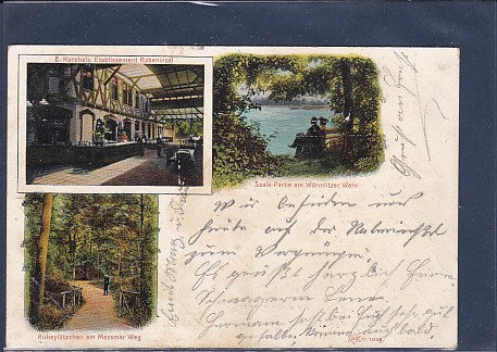 AK Litho E.Kurzhals Etablissement Rabeninsel 3.Ansichten 1906
