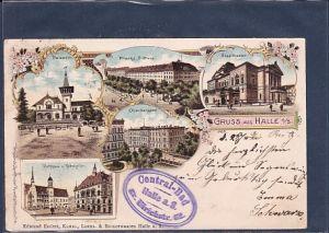 AK Litho Gruss aus Halle A/S. 5.Ansichten Oberbergamt 1901