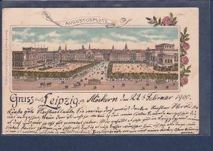 AK Litho Gruss aus Leipzig Augustusplatz 1900