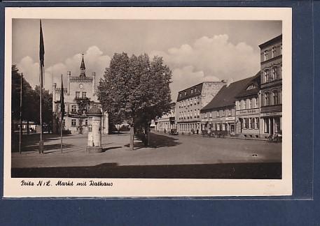 AK Peitz Markt mit Rathaus 1958