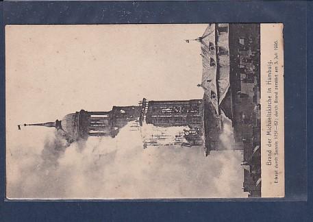 AK Brand der Michseliskirche in Hamburg 1906