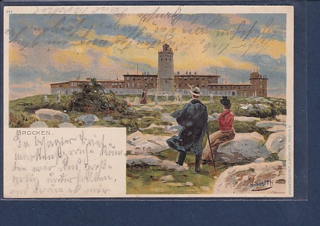 AK Brocken signiert H.Hirsch 1900