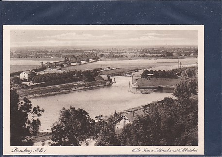 AK Lauenburg ( Elbe) Elbe Trave Kanal und Elbbrücke 1930