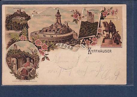 Litho AK Gruss vom Kyffhäuser 5.Ansichten 1906