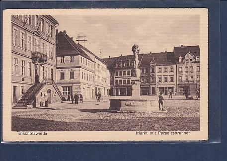 AK Bischofswerda Markt mit Paradiesbrunnen 1920