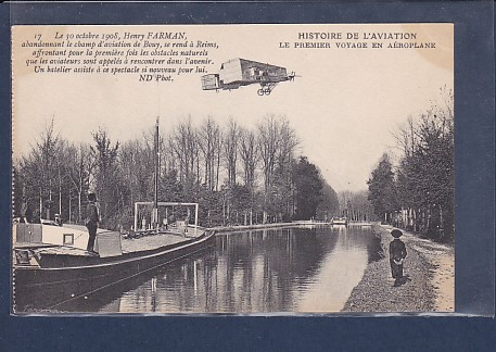 AK Histoire De L´Aviation Le Premier Voyage En Aeroplane Henry Farman 1908