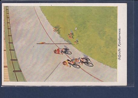 AK Scharfe Konkurrenz 1930 Fahrrad