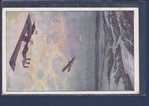AK Militärdoppeldecker auf Erkundungsfahrt über dem Argonnerwald 1916