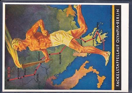 AK Fackelstaffellauf Olympia-Berlin Werbe Postkarte Nr.6 Olympische Spiele 1936