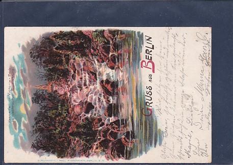 Litho AK Gruss aus Berlin Wasserfall im Victoria Park bei electrischer Beleuchtung 1899
