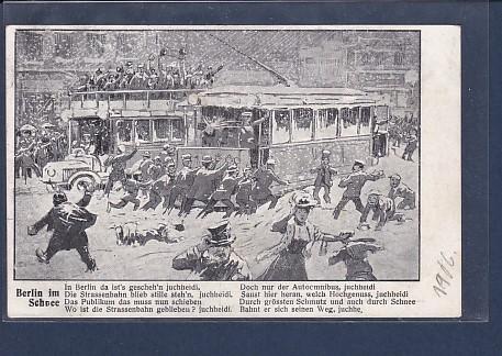 AK Berlin im Schnee (Straßenbahn + Bus) 1906