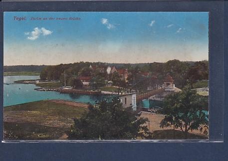 AK Tegel Partie an der neuen Brücke 1916