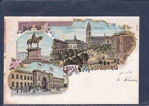 AK Litho Gruss aus Magdeburg 3.Ansichten Hauptbahnhof 1901
