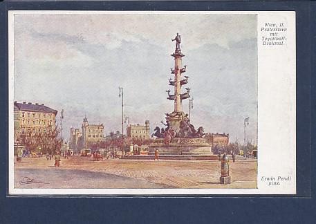 AK Wien, II Praterstern mit Tegetthoff-Denkmal 1920