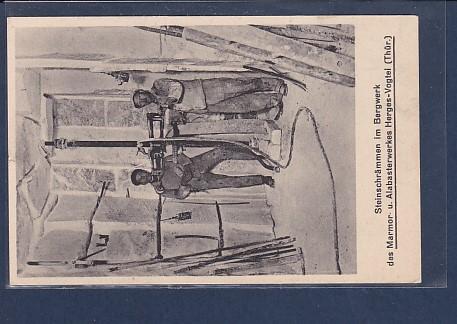 AK Steinschrämmen im Bergwerk des Marmor u. Alabasterwerkes Herges-Vogtei ( Thür.) 1930