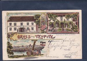 Litho AK Gruss aus Teupitz 3.Ansichten Restauration v. Wilhelm Marwitz 1904