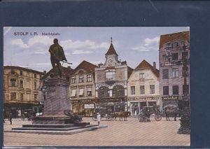 AK Stolp i.P. Marktplatz ( Geschäfte im Hintergrund) 1919
