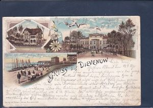 Litho AK Gruss aus Dievenow 3.Ansichten Villa Silvana 1897