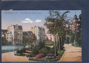 AK Königsberg i Pr. Schlossteich mit Bogenschütze 1903
