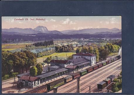 AK Lambach Ob. Oest. Bahnhof 1915