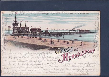 Litho AK Gruss aus Heringsdorf Kaiser Wilhelm Brücke 1897