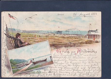 Litho AK Gruss aus Ahlbeck 2.Ansichten Strand 1897
