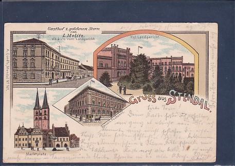 Litho AK Gruss aus Stendal 4.Ansichten Gasthof z. goldenen Stern 1899